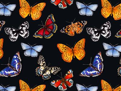 Butterflies pattern watercolour animal illustration animals illustrated conservation enviroment bugs garden wildlife outdoors bright colors colorful butterflies nature pattern illustration