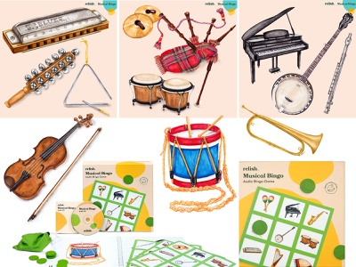 Watercolour illustrations of musical instruments bingo game activity wellbeing wellness product design board game dementia mental health awareness mental health musical instruments music lifestyle watercolour illustration still life