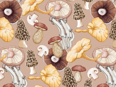 Wild Mushrooms watercolour food illustration pattern watercolor illustration woods fungi mushrooms autumn fall wild woodland foraging cooking food nature food pattern pattern watercolour illustration healthy eating food illustration