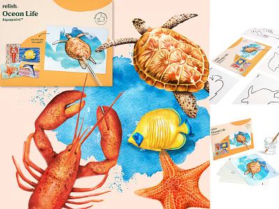 watercolour ocean life illustration coastal colorful bright painting lobster turtle fish ocean life sealife animals illustration watercolour illustration nature