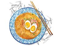 Food Illustration Watercolour Ramen Bowl