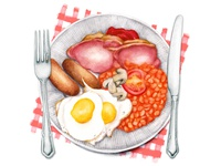 Food Illustration The full English, fry Up
