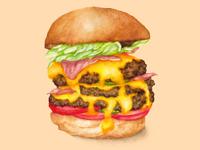 Food Illustration Juicy Cheeseburger
