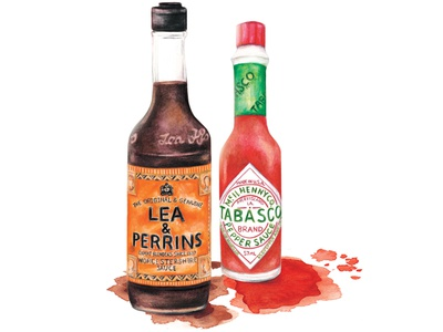 Watercolour Food Illustration Tabasco And Worcestershire Sauce
