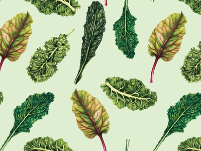 Watercolour Food Pattern- Leafy Greens