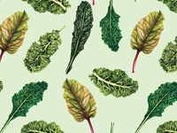 Watercolour Food Pattern- Leafy Greens