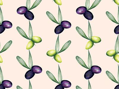 Watercolour Food Illustration Pattern Olives olives botanical illustration food pattern cooking healthy eating watercolour illustration pattern nature food illustration