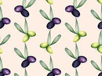 Watercolour Food Illustration Pattern Olives