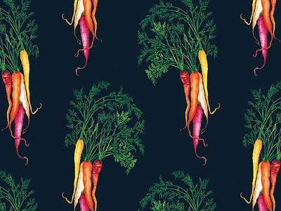Watercolour Food Illustration Heritage Carrots Pattern cooking vegetables kitchen garden allotment nature healthy food pattern watercolour illustration healthy eating food illustration