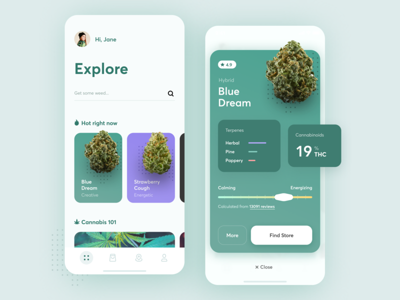 Weedly - Explore cannabis interface product design ios green high taste mobile cbd thc smoking smoke cannabis dream weed design ux app ui