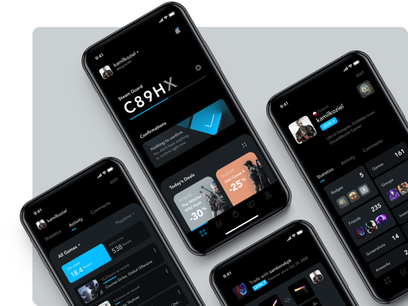 Steam App Redesign Concept xbox playstation steam ios trade gaming game design ux app ui