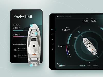 Yacht HMI Night Mode Concept night manage dashboard product interface machine hmi sea sail yacht boat tablet web mobile ios design app ux ui