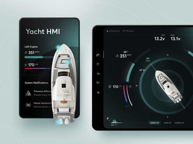 Yacht HMI Concept manage dashboard product interface machine hmi sea sail yacht boat tablet web mobile ios design app ux ui