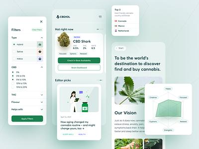 CBDIOL - Cannabis Blog cannabis weed thc cbd leaf graphs charts website mobile design ux app ui