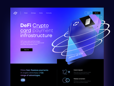 Crypto card Landing Page invest trading web website landing bank finance payment card crypto defi bitcoin design ux ui