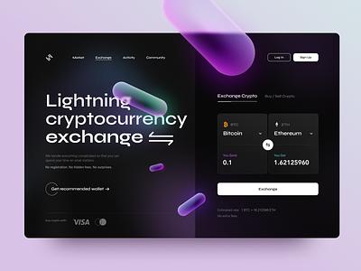 Lightning Crypto Exchange money finance wallet ethereum exchange cryptocurrency crypto webdesign website inspiration desktop glossy glass bitcoin design ux app ui