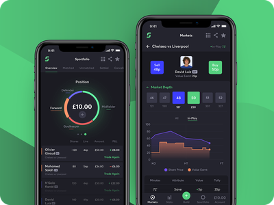 Sportstack - Trade the player gambling ios chart stats soccer betting football sport design ux app ui