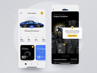Garage App Concept concept engine icons bmw audi porsche car garage design ux app ui