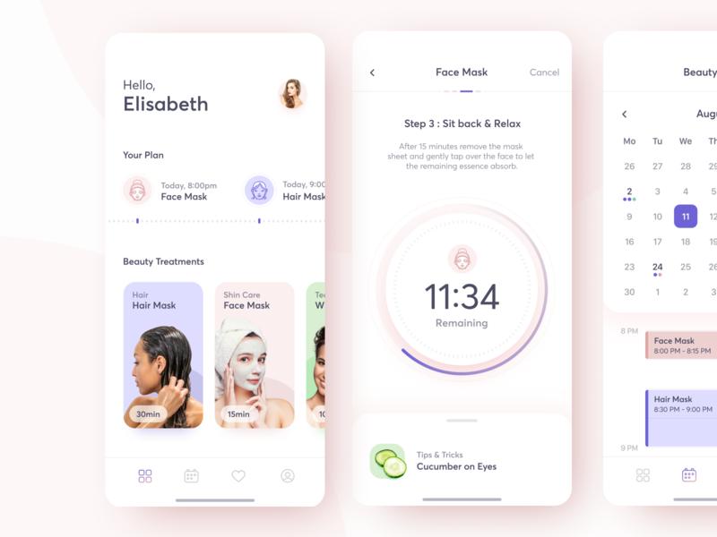 Beauty Treatments Planner pastel light ios planner calendar timer care relax beauty design ux app ui