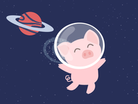 Piggy in the space with diamonds
