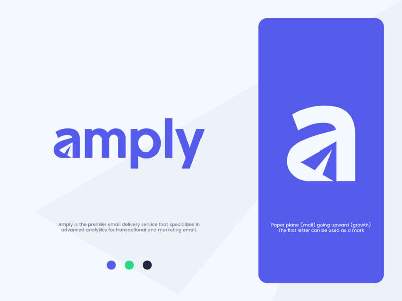 Amply - Wordmark Logo Design analytic rise growth transactional email marketing email marketing mail analytics plane paper negative space logotype lettering wordmark paper plane logo design a ample amplify