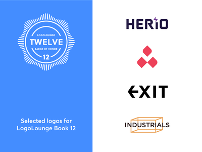 LogoLounge 12 industrial exit twelve award publication book logolounge logo brand identity branding flat simple clean interface graphic design illustrator minimal simple wordmark icons geometric logo designer