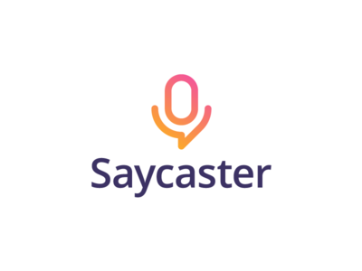 Saycaster logo artangent bubble mic talk listen broadcast podcast cast say