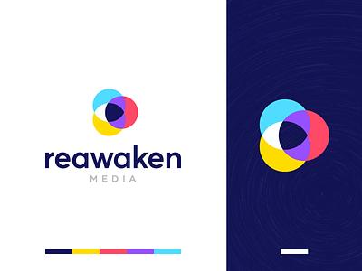 Reawaken Media Logo Design identity branding identity branding clean awaken eye awake flat geometric media play icon media logo logotype minimal simple video circle overlap content
