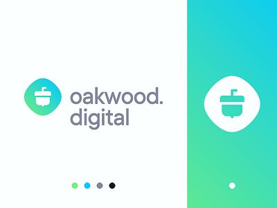 Oakwood.Digital Logo Design branding and identity digital oakwood minimal development web clean simple branding logo logo design identity design branding design logotype nature acorn oak woods wood gradient