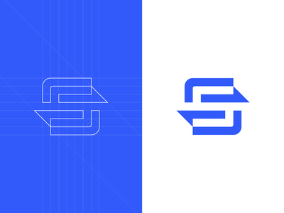 S - Lettermark digital ways arrows arrow connecting connection connect geometrical s identity branding brand design identity logotype mark icon lettermark logo design logo sense