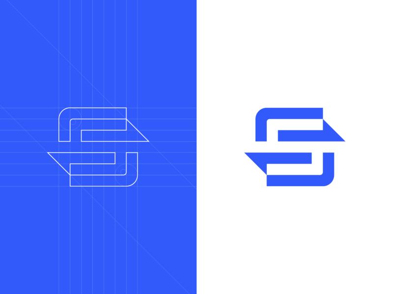 S - Lettermark digital ways arrows arrow connecting connection connect geometrical s identity branding brand design identity logotype mark icon lettermark logo design logo sense