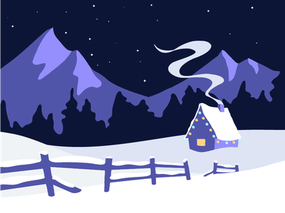 Happy Holidays illustration nature stars smoke snow night mountains holidays cabin