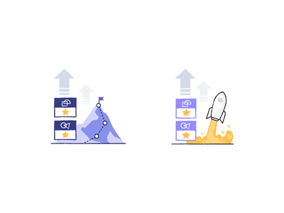 School is cool education course rank up level mountain rocket illustration product