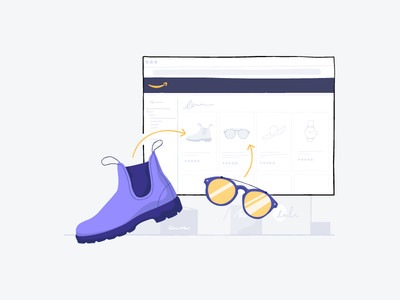 Connect to Amazon connect checkout orders sales products sunglasses boot shoe shopify amazon illustration product