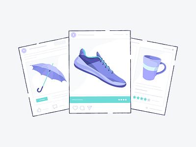 Ads ecommerce illustration product marketing digital umbrella mug shoe advertisements