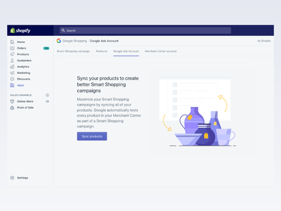 Sync your products to Google empty state campaign google design ecommerce shopify product illustration