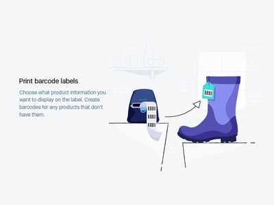 Print barcode labels empty state boot label barcode design ecommerce product shopify illustration