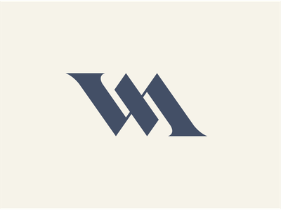 WM Logo Idea subtle typography grey type blue branding design mono line m w monogram identity brand logo wm
