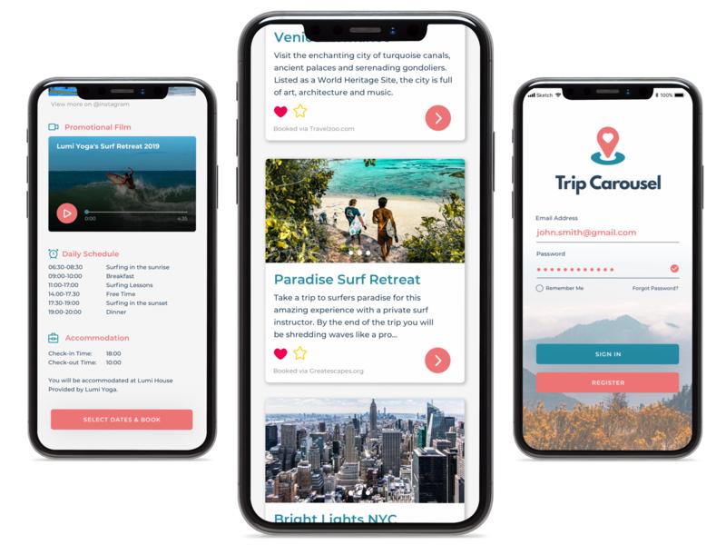 Trip Carousel - UI Screens