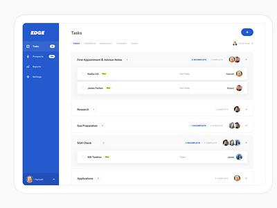 Workflow Manager Web App - Tasks Dashboard crm task manager web app ux ui app