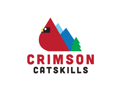 Crimson Catskills Identity mountains blue green catskills ny trees cardinal red typography icon identity logo illustration branding