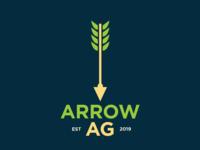 Arrow AG Concept Identity icon blue typography illustration green corn plant arrow farm farming identity branding logo