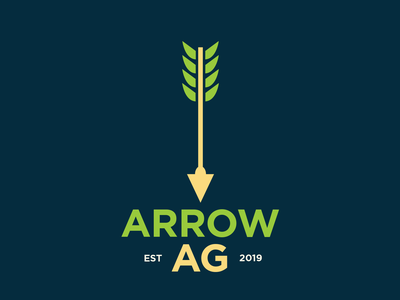 Arrow AG Concept Identity icon blue typography illustration green corn plant arrow farm farming identity branding logo