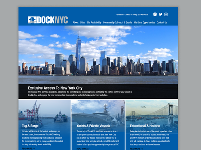 DockNYC Website Concept vessel harbor yachts tugboat boating boats new york city ui design blue nyc identity typography branding webdesign website concept website design website