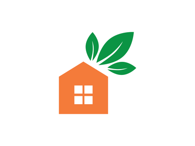 New Leaf Homes Concept house builders housing house illustration orange green leaves leaf vector illustration design identity branding
