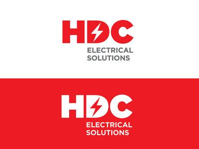 HDC Logo Concept grey vector nyc typography red lighting bolt design identity logo branding