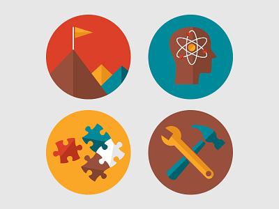 Summer Camp Badges badge circle crest icon illustration camp wrench hammer flag brain atom puzzle