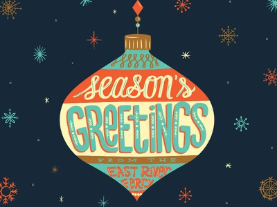 Season's Greetings handlettering typography vintage snowflakes script illustration lettering seasons greetings ornament december holiday holiday card