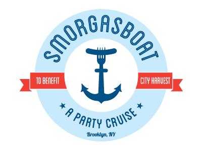 Smorgasboat Logo logo branding circle typography anchor blue red crest hot dog