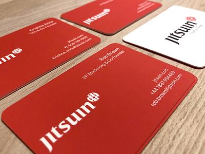 Jitsuin Business Cards long island design firm logo design agency two sided busines card design moo dot california united kingdom blockchaintechnology blockchain black red typography start-up identity branding